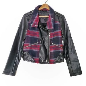 Collection B | Plaid and Vegan Leather Moto Jacket